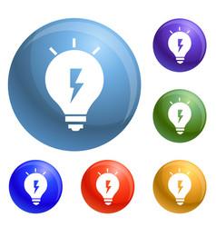 energy idea bulb icons set vector image