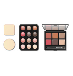 Eyeshadow makeup shaping palette realistic 3d vector