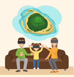 family on sofa with googles playing virtual 3d vector image