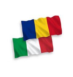 Flags italy and romania on a white background vector