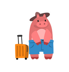 Funny hippo animal cartoon character traveling vector