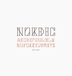 Geometric serif font in timbered house style vector