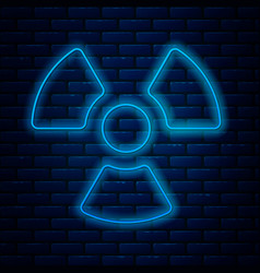 Glowing neon line radioactive icon isolated on vector