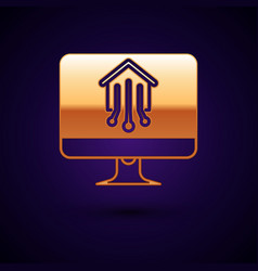 Gold computer monitor with smart home icon vector