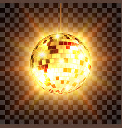 Golden disco ball with light rays isolated on vector