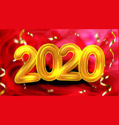 Golden number 2020 new year party banner vector