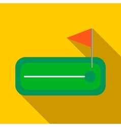 Green golf course with a hole and flagstick icon vector image