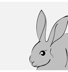 Grey easter rabbit white background Animal vector image