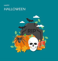 happy halloween flat style design vector image