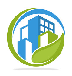 icon logo with green city management concept vector image