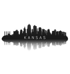 kansas skyline in black with reflection vector image