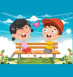 kids sitting on park bench vector image