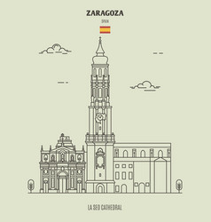 la seo cathedral in zaragoza spain vector image