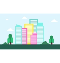Landscape town flat of silhouette vector