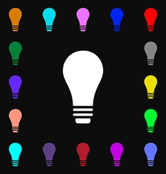 Light bulb icon sign Lots of colorful symbols for vector image