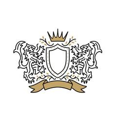 lion coat arms logo icon vector image
