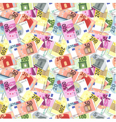 Lot of bright different euro banknotes seamless vector