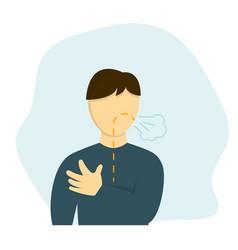 Man has shortness breath vector