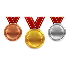 medal set realistic red ribbons gold silver vector image