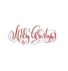 merry christmas - red hand lettering inscription vector image