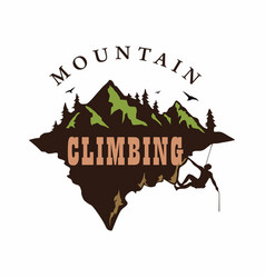 mountain climbing logo design vector image