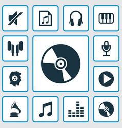 Music icons set collection of earphone octave vector