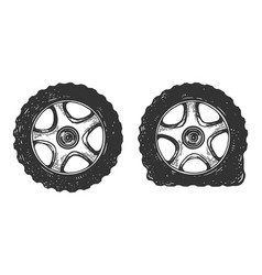 Normal and flat tire set sketch engraving vector