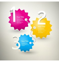 One two three colorful paper progress steps for tu vector image
