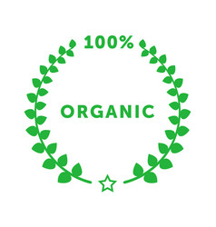 organic 100 percent circle badge with branch with vector image