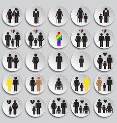 People gender race orientation age set on plate vector