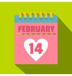 Pink Valentines day calendar icon flat style vector