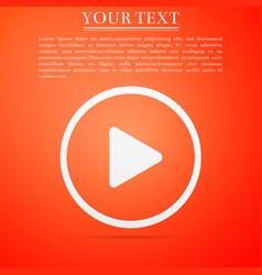 play icon on orange background flat design vector image