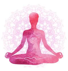 Practicing yoga meditation watercolor vector