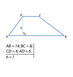 problem of finding the height of the trapezoid vector image