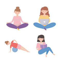 Quarantine stay at home women practicing yoga vector