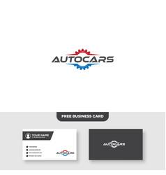 Repair car and gear logo business card template vector