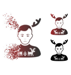 Sad moving pixel halftone deers pullover horned vector