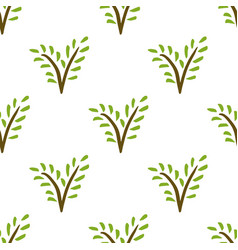 seamless painted plant pattern hand drawn green vector image