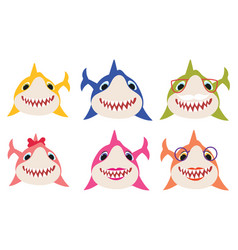 Set cartoon shark family collection vector