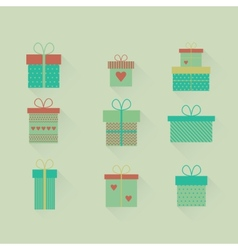set flat gift icons vector image