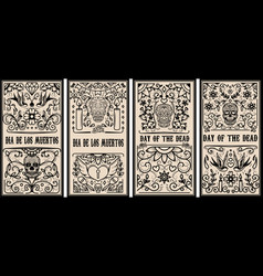 Set of dead day banner template sugar skulls vector