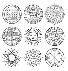 Set pencil drawings emblems on a magical theme vector