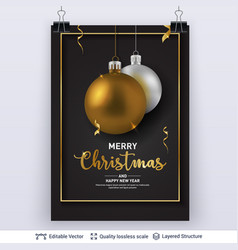 silver golden christmas balls on dark background vector image