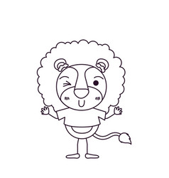 Sketch silhouette caricature of cute lion in t vector