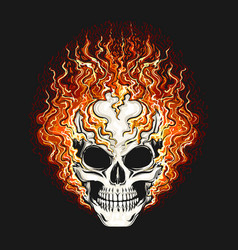 Skull in fire flame on black background vector