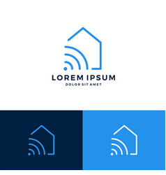 Smart home house signal wifi wireless logo vector