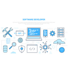 Software developer concept with icon set template vector