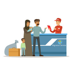 Stateless refugee family in migration service vector