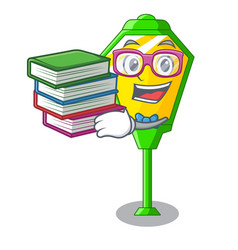 Student with book character a lamp in post style vector