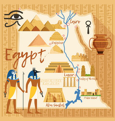 Stylized map of egypt with different cultural vector